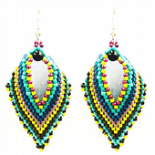 Russian Leaf Earring Beadwork Kit with MIYUKI Delicas - Turquoise/Yellow/Black